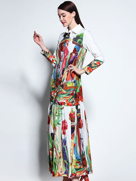Bohemian Lapel Collar Long Sleeve Big Hem Print Maxi Dress