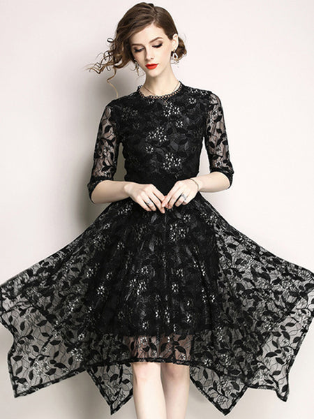 Elegant Lace O-Neck 3/4 Sleeve Irregular Hem Skater Dress
