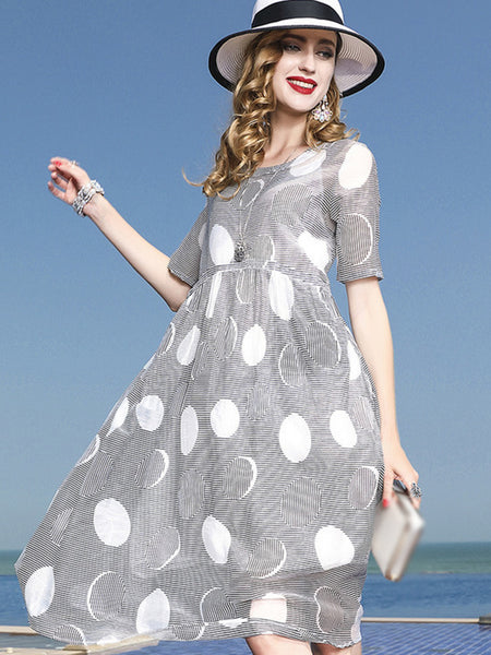 Fashion Polka Dot O-Neck Short Sleeve Print Shift Dress