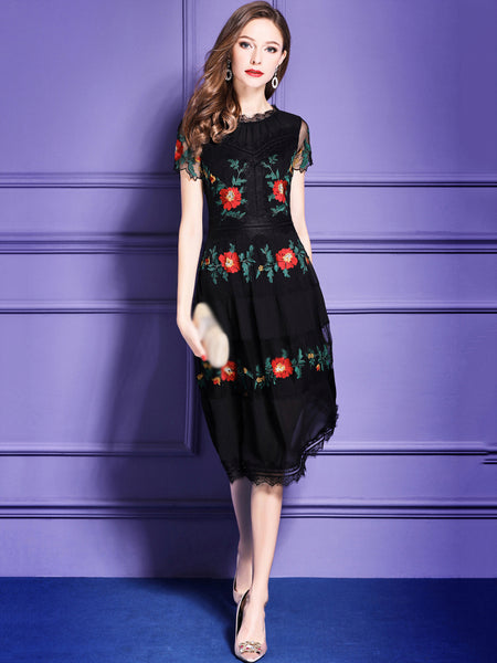 Elegant Embroidery Stand Collar Short Sleeve A-Line Dress
