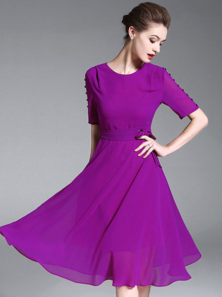Simple Pure Color O-Neck Short Sleeve Lacing Skater Dress