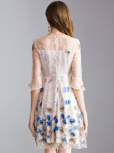 Sweet Embroidery O-Neck Flare Sleeve A-Line Dress