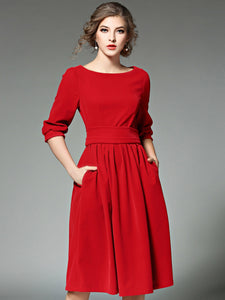 Elegant Velour Boat Neck 3/4 Sleeve Pocket Skater Dress