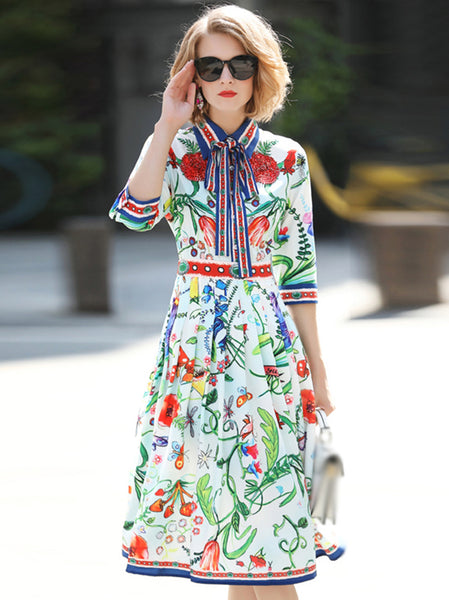 Vintage Lapel Collar Half Sleeve Lacing Beaded Print Skater Dress