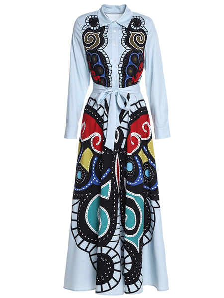 Street Lapel Collar Long Sleeve Lacing Print Maxi Dress