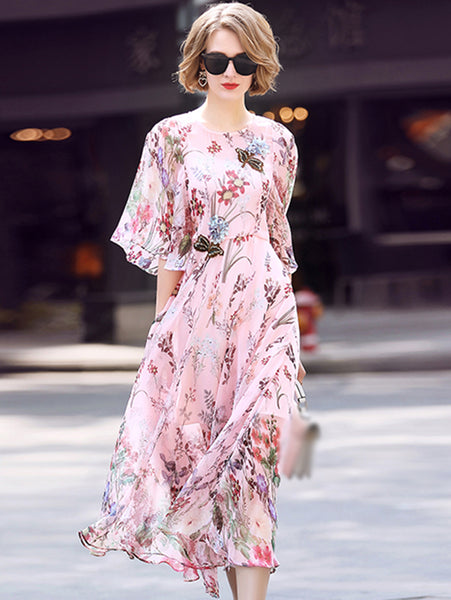 Elegant Embroidery O-Neck Flare Sleeve Print A-Line Dress