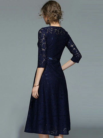 Fashion Pure Color Lace O-Neck 3/4 Sleeve A-Line Dress