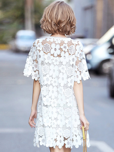 Elegant Lace O-Neck Half Sleeve Beaded Shift Dress