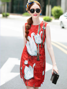 Fashion O-Neck Sleeveless Print Fit & Flare Dress