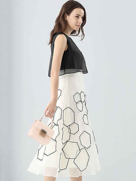 Fashion Stitching O-Neck Sleeveless Print A-Line Dress
