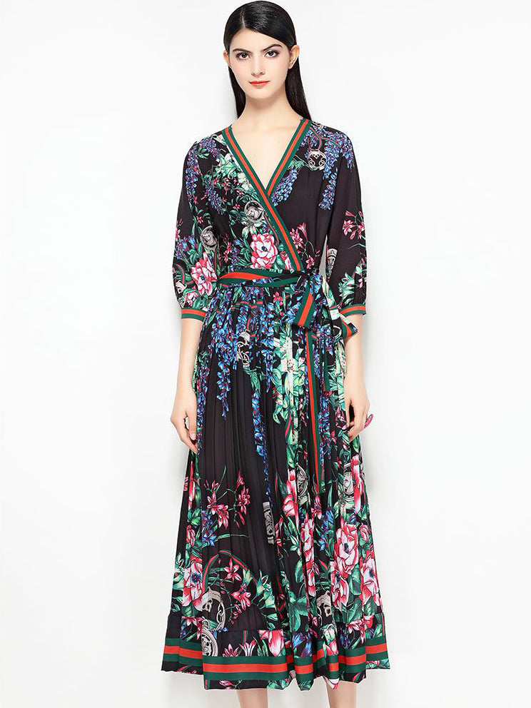 Vintage V-Neck Half Sleeve Lacing Print Maxi Dress
