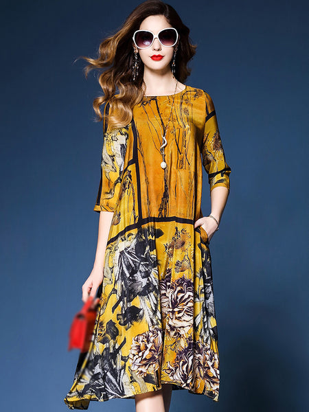 Vintage O-Neck 3/4 Sleeve Print Shift Dress