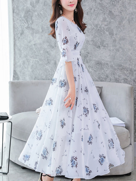 Fashion Chiffon V-Neck Flare Sleeve Print Maxi Dress