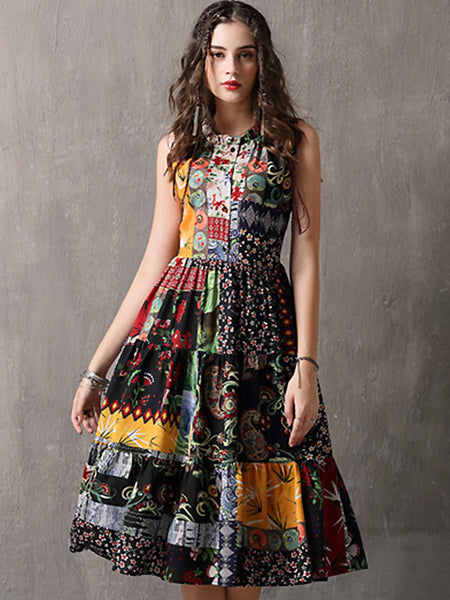 Bohemian O-Neck Sleeveless Print Fit & Flare Dress