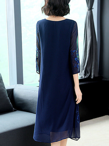Elegant Embroidery O-Neck Long Sleeve Shift Dress