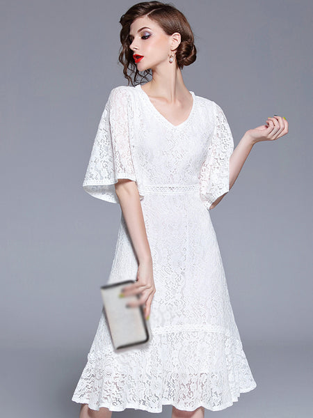 Elegant Lace V-Neck Flare Sleeve Fit & Flare Dress