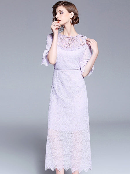 Elegant Lace O-Neck Flare Sleeve Maxi Dress