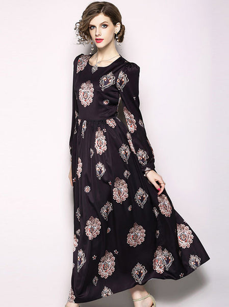 Vintage O-Neck Puff Sleeve Big Hem Print Maxi Dress