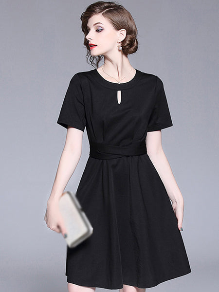 Classic Pure Color O-Neck Short Sleeve Skater Dress