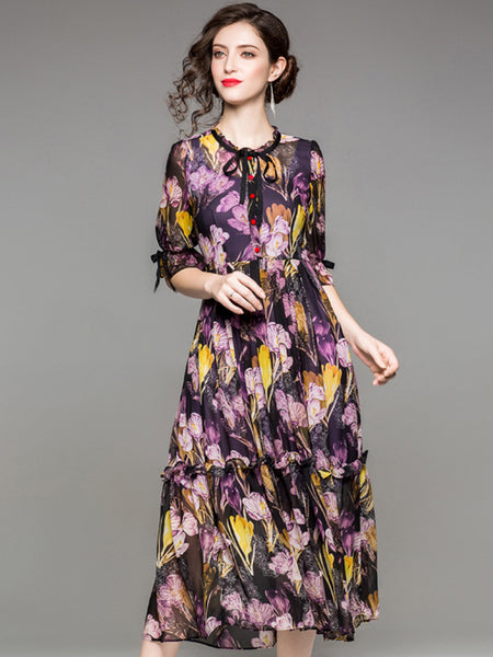 Elegant O-Neck Puff Sleeve Lacing Print Skater Dress