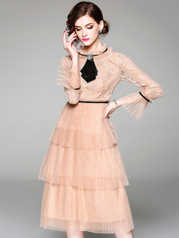 Vintage Lace Stand Collar Long Sleeve Bubble A-Line Dress