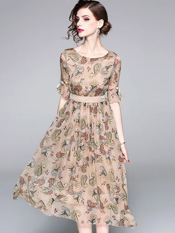 Elegant O-Neck Half Sleeve Chiffon Print Skater Dress