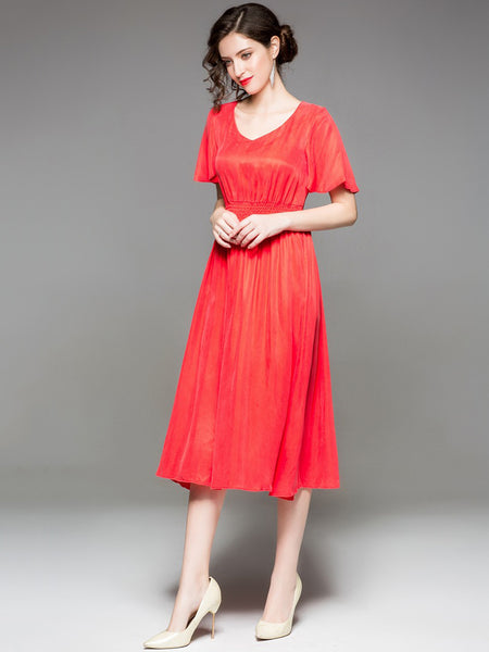 Simple Pure Color V-Neck Flare Sleeve A-Line Dress