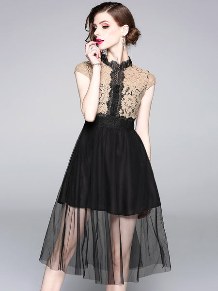 Elegant Lace Stitching Stand Collar Short Sleeve A-Line Dress
