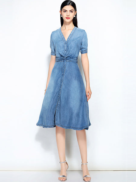 Vintage Denim Embroidery V-Neck Short Sleeve Skater Dress