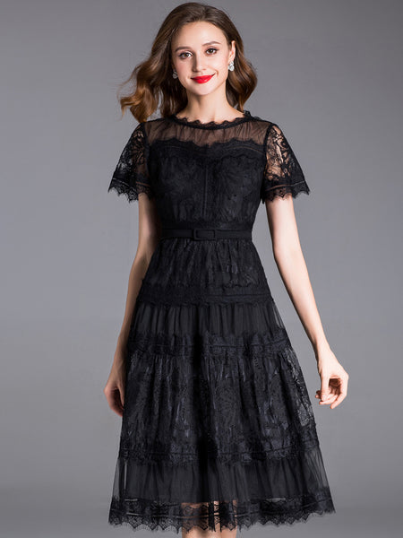 Elegant Embroidery Short Sleeve Lace A-Line Dress Without Belt