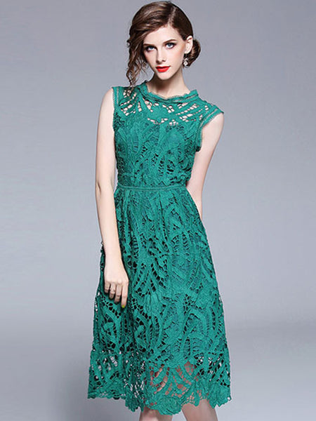 Elegant Lace Stand Collar Sleeveless A-Line Dress