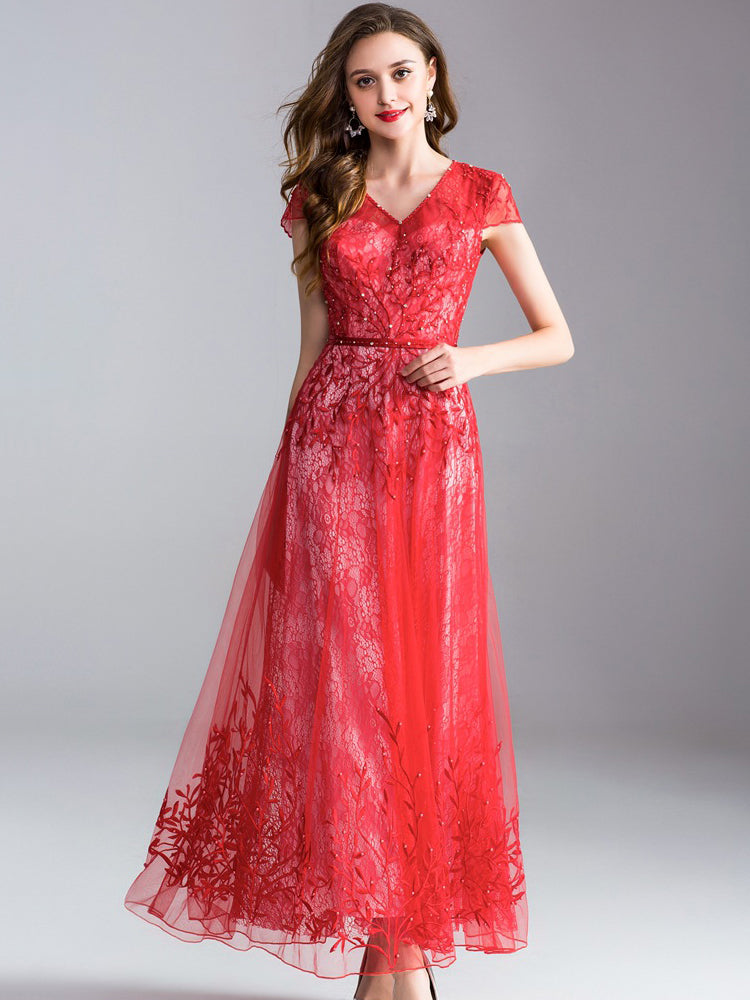 Elegant Embroidery V-Neck Short Sleeve Big Hem Maxi Dress