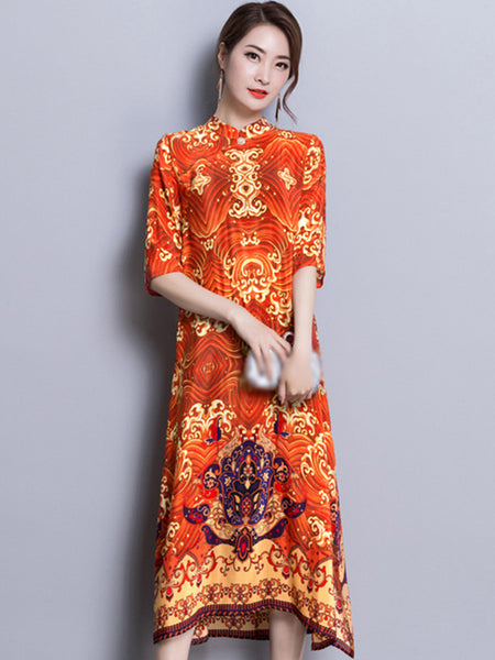 Stand Collar Half Sleeve Vintage Print Shift Dress
