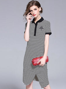 Stripe Turn-Down Collar Short Sleeve Bodycon Dress