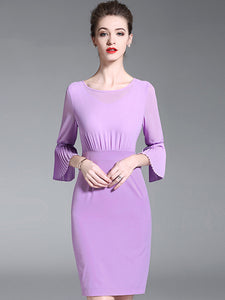 Purple Simple O-Neck Flare Sleeve Bodycon Dress