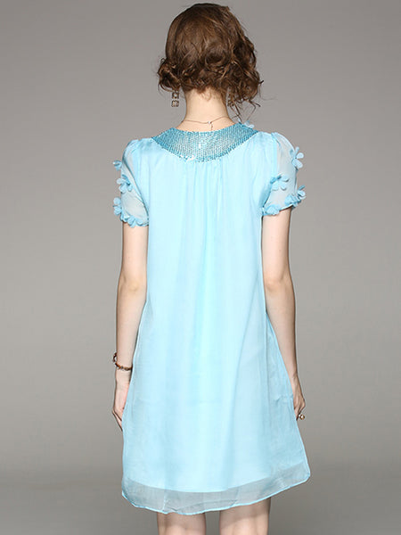 Chiffon Short Sleeve Paillette Shift Dress
