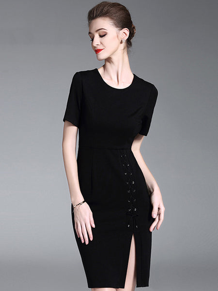Work Pure Color O-Neck Short Sleeve Slit Bodycon Dress