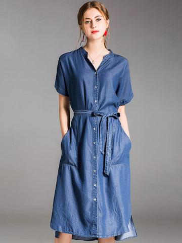 Denim V-Neck Short Sleeve Pocket Lacing Skater Dress