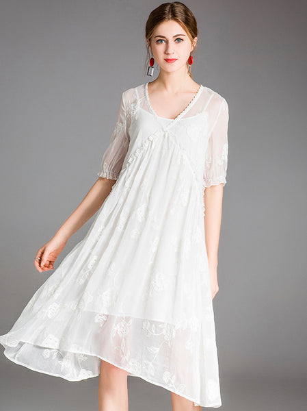 Embroidery V-Neck Short Sleeve Shift Dress
