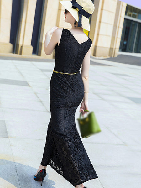 Black Lace V-Neck Sleeveless Print Maxi Dress Without Belted