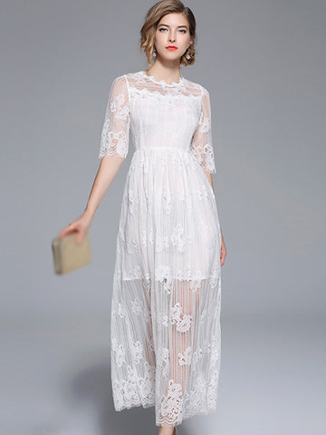 White Embroidery Half Sleeve Lace Maxi Dress