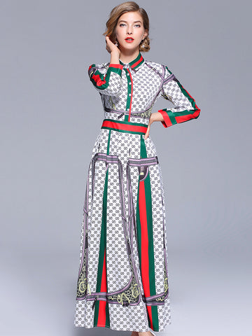 Turn-Down Collar Hit Color Long Sleeve Print Maxi Dress