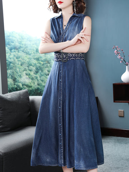 Belted Embroidery V-Neck Sleeveless Denim A-Line Dress