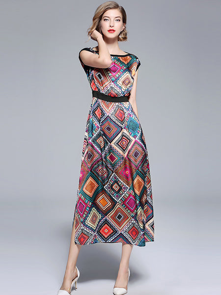 Multicolor O-Neck Sleeveless Slit Print Maxi Dress