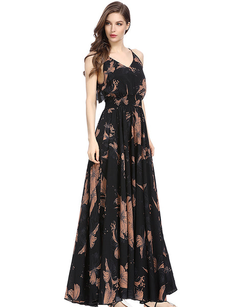Sexy Braces Backless Vintage Print Maxi Dress
