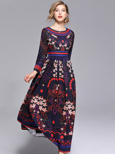 O-Neck Long Sleeve Vintage Big Hem Print Maxi Dress