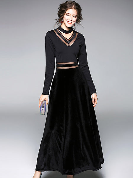 Velour Stitching V-Neck Long Sleeve Black Maxi Dress