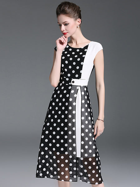 Polka Dot O-Neck Sleeveless Slit Skater Dress