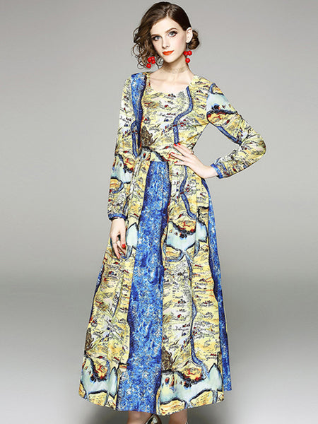 O-Neck Long Sleeve Gathered Waist Print Maxi Dress