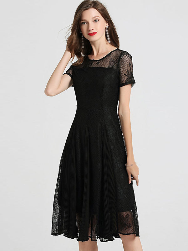 Pure Color Lace O-Neck Short Sleeve Fit & Flare Dress